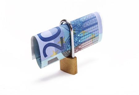 twenty: twenty euros with a padlock Stock Photo