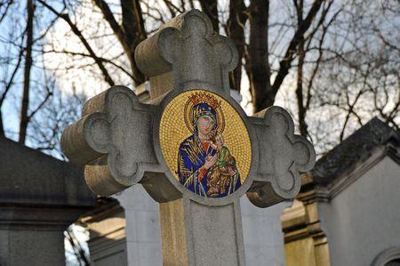 jungfrau maria: Mosaik-Kreuz der Jungfrau Maria Lizenzfreie Bilder