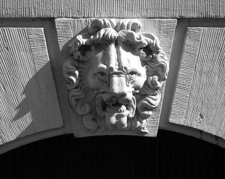 Stone lionshead carving