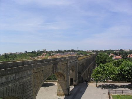 Roman aqueduct in Montpellier France photo