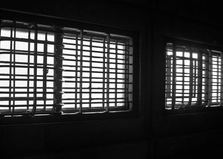 Barred windows in Alcatraz prison