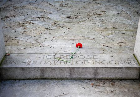 Tomb of an unknown Belgian soldier in Pere Lachaise cemetery photo
