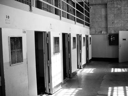 Alcatraz prison cells with open doors Stock Photo