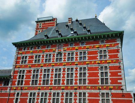 Red building in Liege Belgium Stock Photo