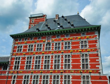 liege: Red building in Liege Belgium Stock Photo