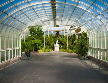 Greenhouse with statue in Glasgow