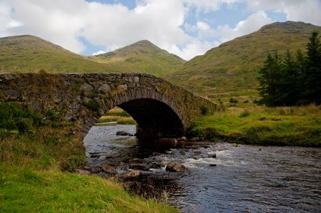 Stone footbridge in the Highlands Stock Photo