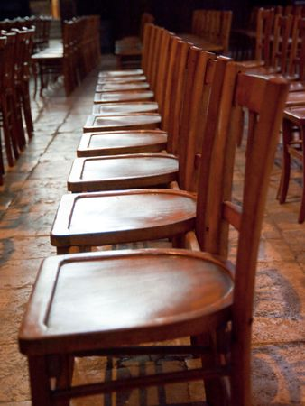 Row of chairs in Chartres cathedral Editorial