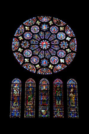 Chartres cathedral stained glass Editorial