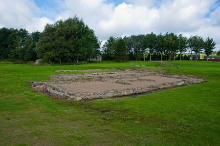 Ruins at Vindolanda Roman fort in England Stock Photo