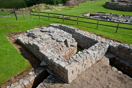 Ruins at Vindolanda Roman fort in England Stock Photo