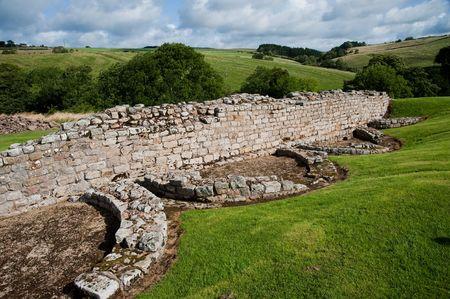 Ruins at Vindolanda Roman fort in England Standard-Bild