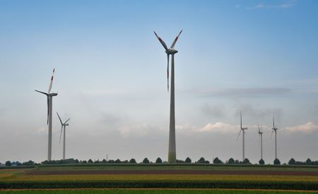 Wind turbines and field Stock Photo - 6370229