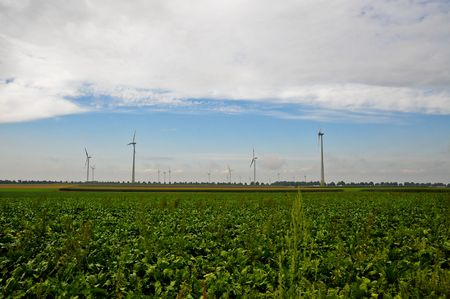 Wind turbines and field Stock Photo - 6370257