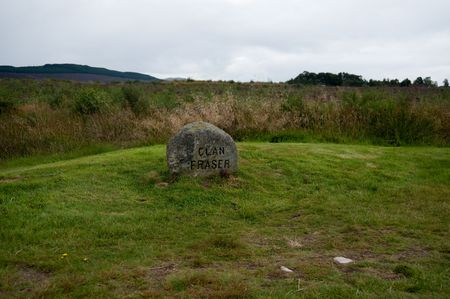 Grave marker on the Culloden battlefield Stock Photo