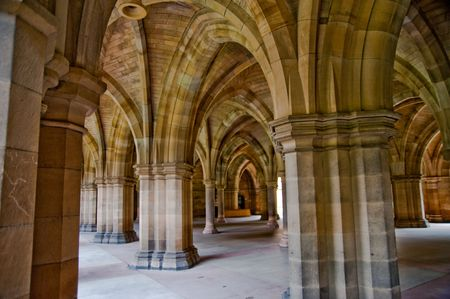 Arches in Glasgow University Stock Photo