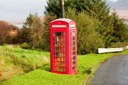 Telephone booth on the Scottish island of Islay