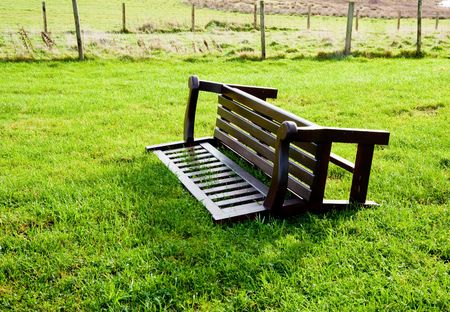 Overturned bench on the isle of Islay Stock Photo