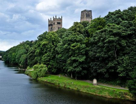 Durham cathedral and river Stock Photo