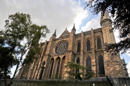 Durham cathedral facade and rose window Imagens