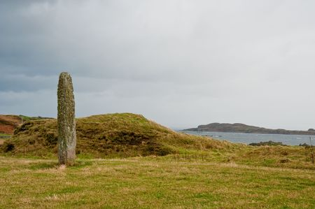 lith: Standing stone on Islay Stock Photo
