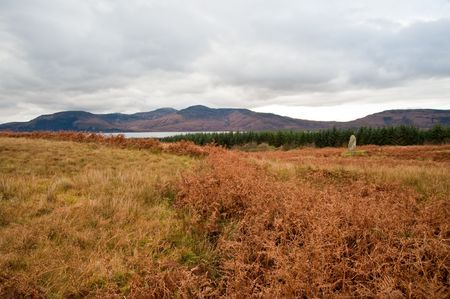 lith: Standing stone and field on the island of Jura Stock Photo