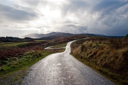 Road on the isle of Islay, Scotland photo
