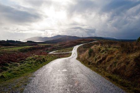Weg op het eiland Islay, Schotland