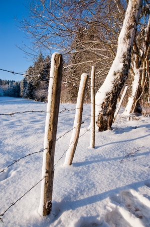 Rural winter scene Stock Photo