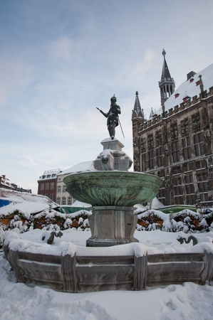 rathaus: Aachen Rathaus during winter Stock Photo