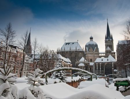market hall: Snow covered Aachen during winter