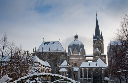 Snow covered Aachen during winter