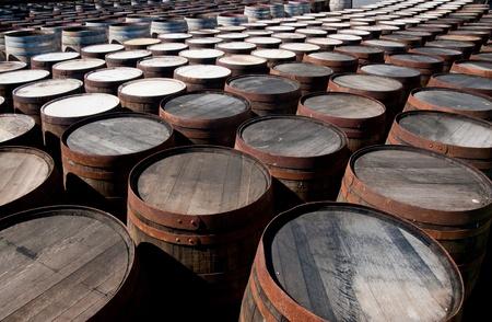 Tops of scotch whisky barrels Stock Photo