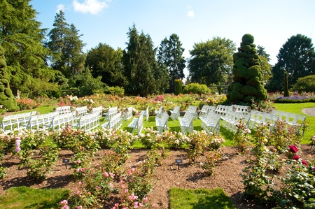 Rows of chairs in Woodland Park Rose Garden