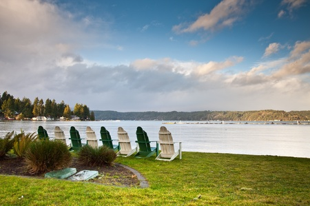 pacific northwest: Row of chairs near Hood Canal Stock Photo