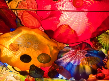 Blown glass by Dale Chihuly in the Chihuly Garden and Glass, Seattle WA