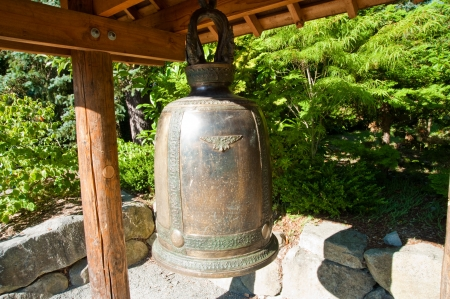 Bell in Kubota Garden, Seattle WA Stock Photo - 14964728