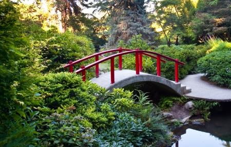 ponte giapponese: Kubota Garden a Seattle WA Archivio Fotografico