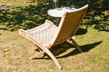 Lawn chair and table Stock Photo - 17082518
