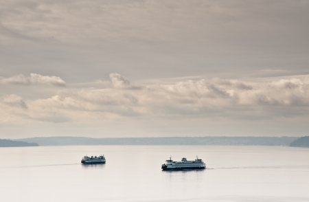 puget: View of Puget Sound and ferries Stock Photo