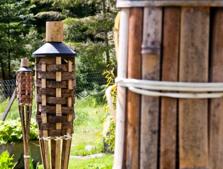 torches: Tops of unlit tiki torches in a yard