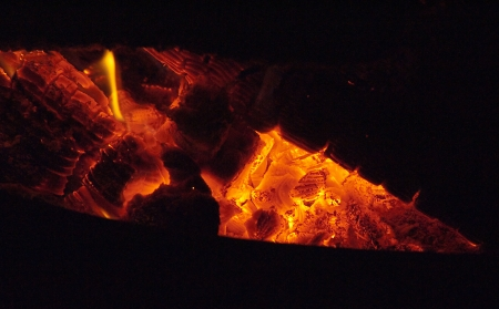 scorching: Blazing fire in a wood burning stove