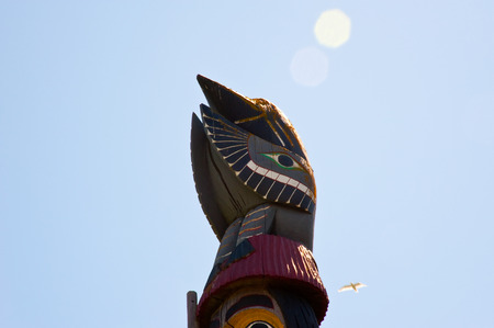 Detail of Knowledge Totem in Victoria B C  photo