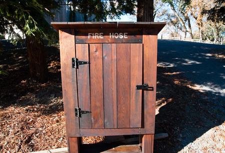 Fire hose cabinet, Sonoma CA Stock Photo