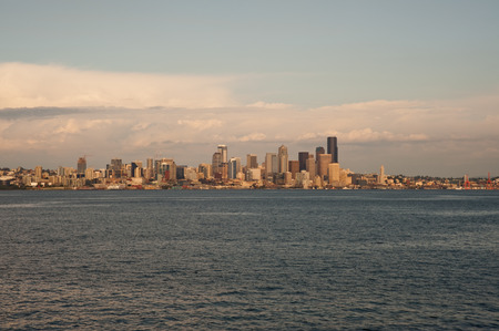 Downtown Seattle skyline seen from ferry Stock Photo
