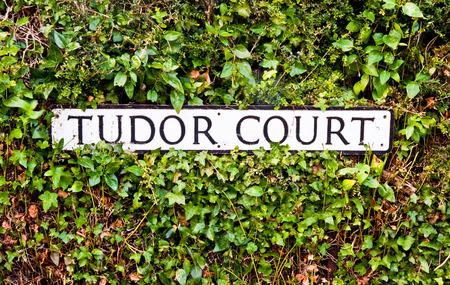 Black and white Tudor Court sign