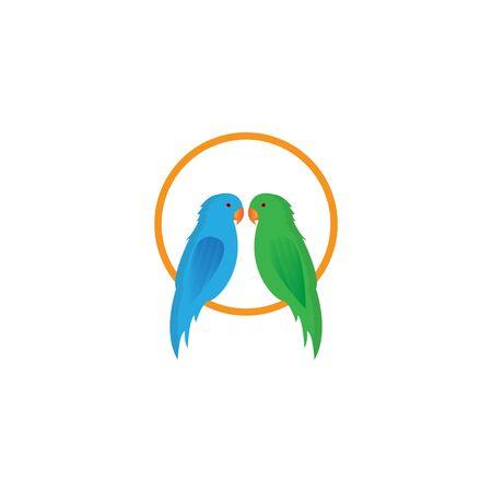 two parrots alighted vektor design
