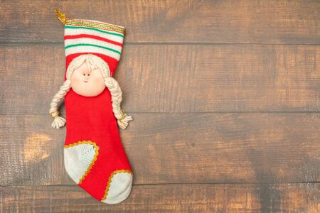 Mrs. Claus made with wool, Santa Claus, Merry Christmas.