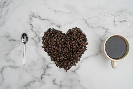 Roasted coffee beans, I love coffee, Heart with roasted coffee beans. Stock fotó