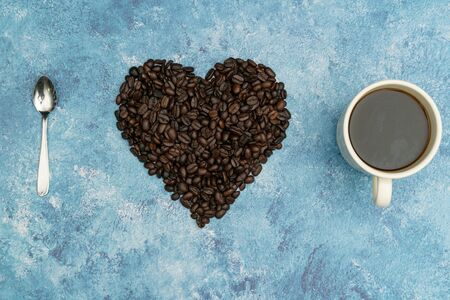 Roasted coffee beans, I love coffee, Heart with roasted coffee beans.